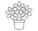 花盆里的小花简笔画图片