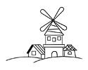 风车房子风景简笔画图片