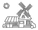 风车房子简笔画图片