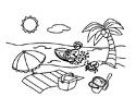 海边沙滩风情简笔画图片