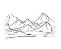 大山之间的简笔画图片