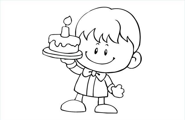小孩子手捧蛋糕的简笔画图片
