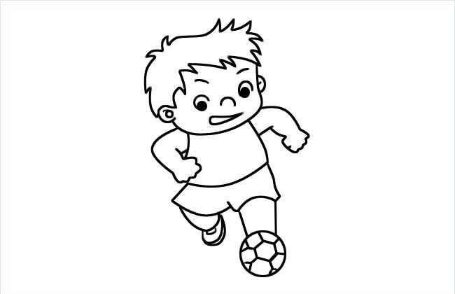 小孩子踢球的简笔画图片