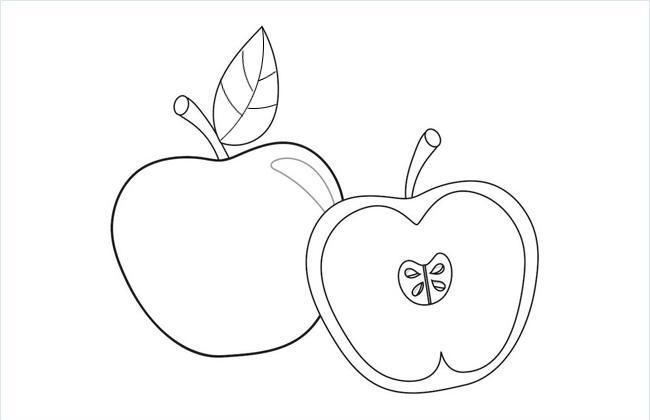 切开的小苹果简笔画图片