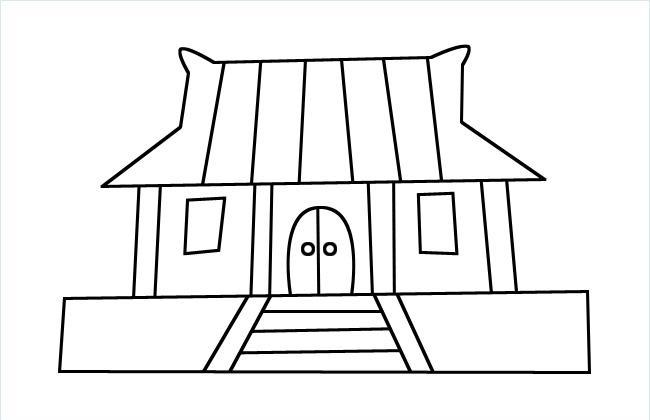 古代建筑简笔画图片