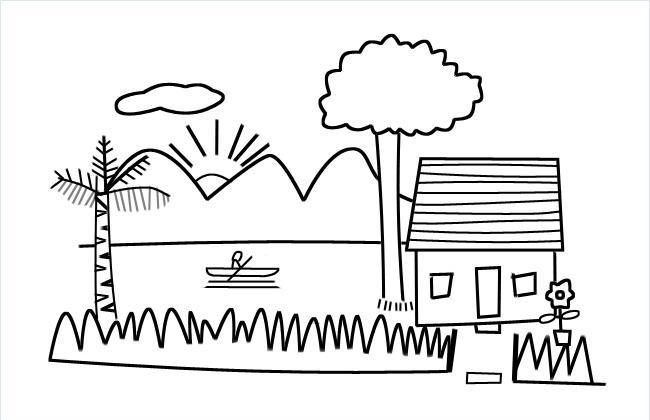 山水小屋风景简笔画图片