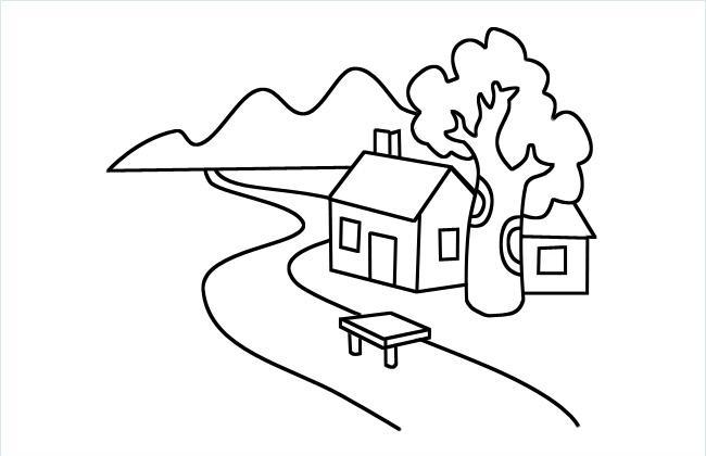 河边小房子风景简笔画图片