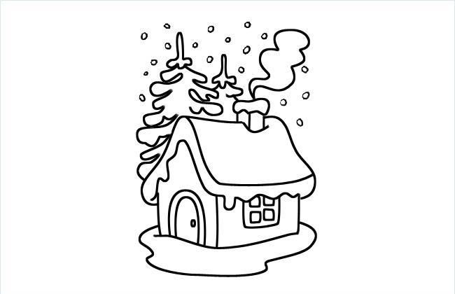 雪中的小屋简笔画图片