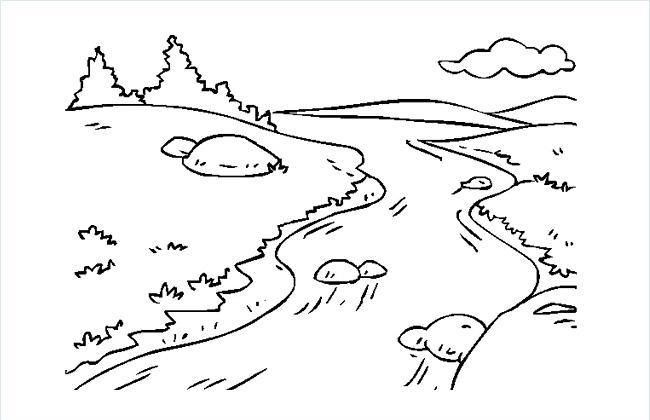 小溪简笔画图片