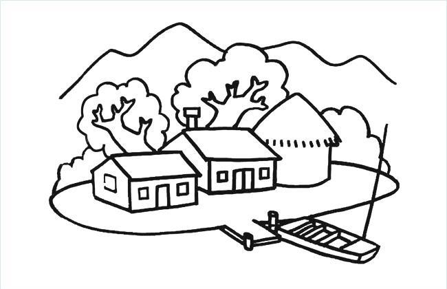 渔边农家简笔画图片