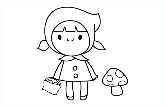 小红帽简笔画图片