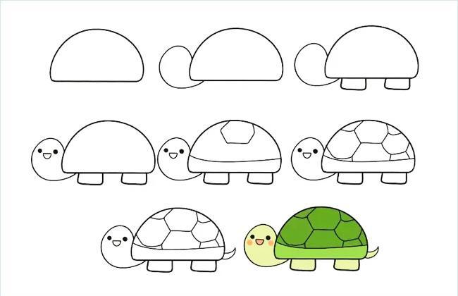 1个半圆就能画出可爱的简笔画 -- 小乌龟
