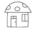 蘑菇形状的小房子简笔画画法步骤