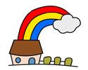 彩虹房子简笔画的画法步骤及上色图片