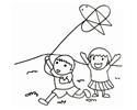 小朋友户外放风筝的简笔画图片
