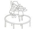 小朋友在蹦床上玩耍的简笔画图片