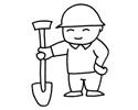 工人叔叔拿着铁铲子的简笔画图片