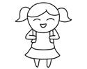 开心的小女孩简笔画图片