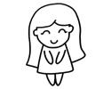 长发小美女简笔画图片