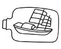 装在漂流瓶中的帆船简笔画图片