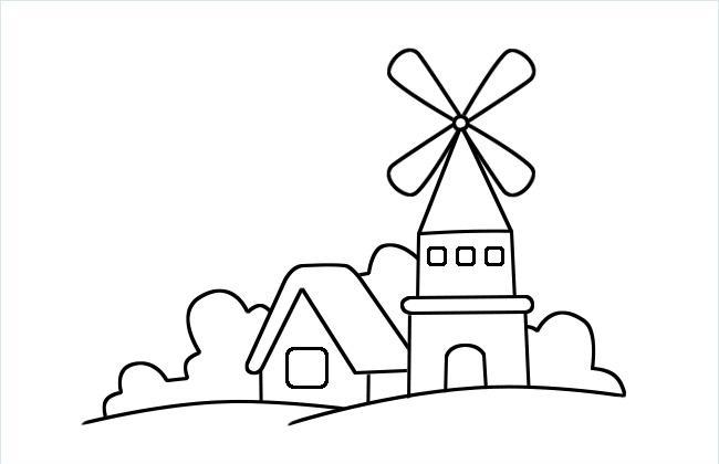 风车小屋简笔画图片