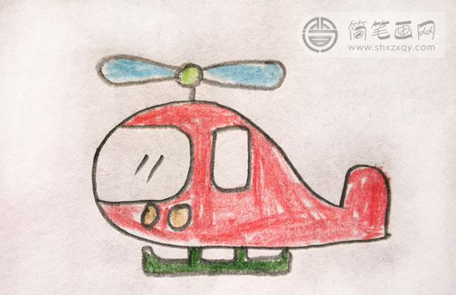 小朋友画的直升飞机作品
