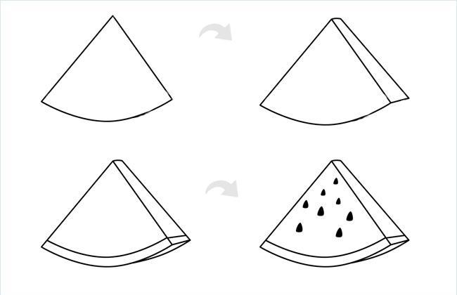 切片西瓜简笔画包含步骤