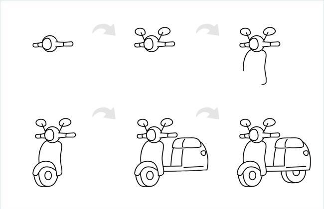 踏板摩托车简笔画的画法和步骤