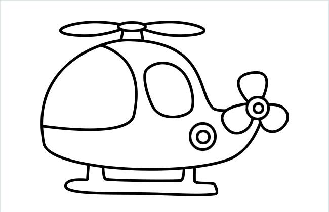 直升飞机简笔画的画法步骤