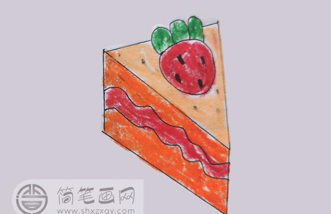小朋友画的草莓蛋糕简笔画