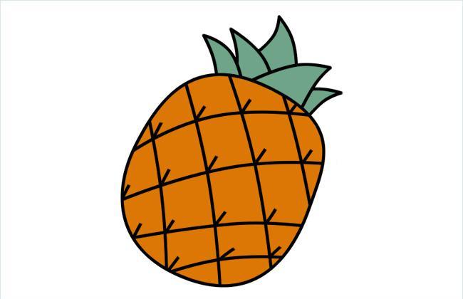 菠萝简笔画的画法和上色