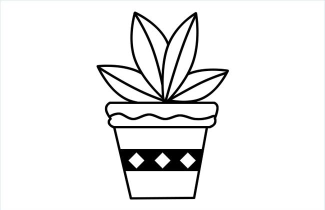 植物盆景简笔画的法画步骤和上色图片