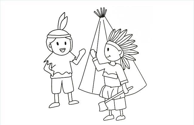 原始人部落简笔画图片