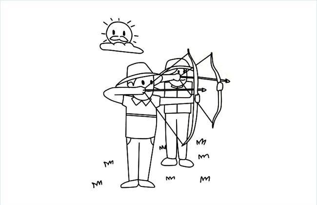 两位射手在射箭的简笔画图片