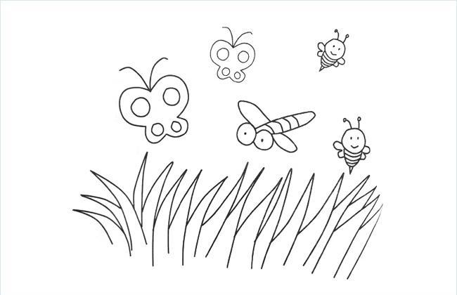草地好多蝴蝶密封蜻蜓的简笔画图片