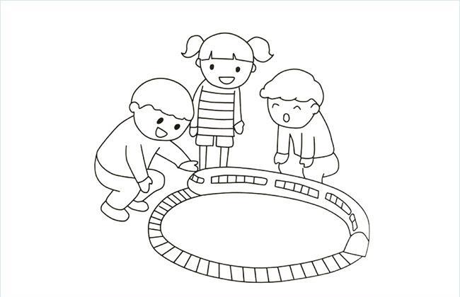 三个小朋友在玩轨道小火车的简笔画图片
