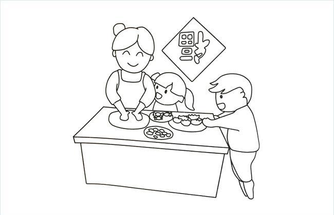 过年包饺子的简笔画图片