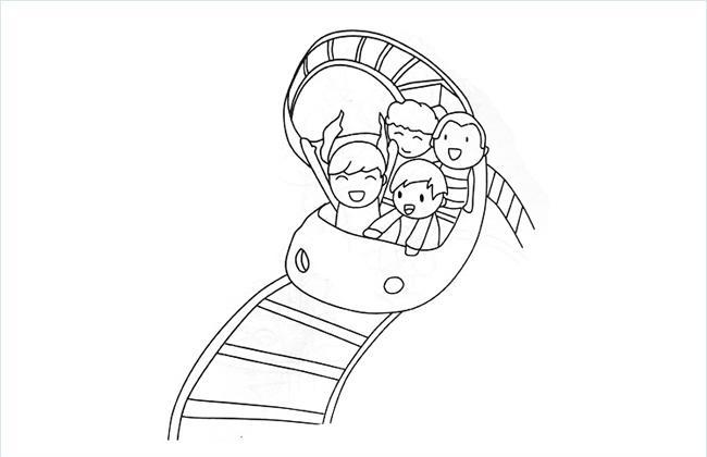 小朋友坐过山车的简笔画图片