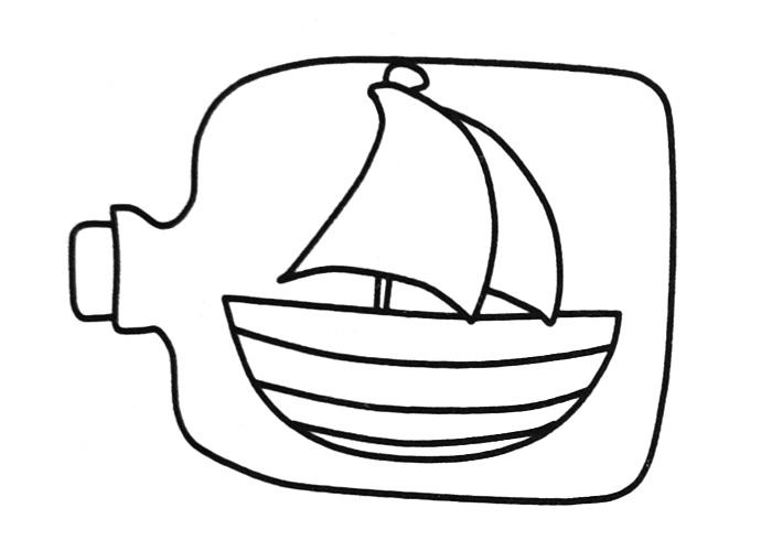 帆船漂流瓶简笔画图片