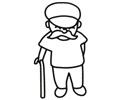 拄着拐杖的长胡子老爷爷简笔画图片
