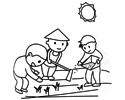 农民伯伯在烈日下种田的简笔画图片