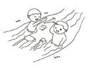 两个小孩子在河里游泳戏水的简笔画图片
