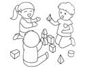 小朋友们在一起搭积木的简笔画图片