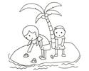 姐弟俩在岛上岸边捡贝壳的简笔画图片