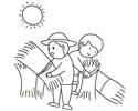 烈日下收割农民伯伯收割麦子的简笔画图片