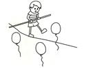 特技演员在表演走钢丝的简笔画图片