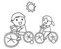 两个小孩子骑自行车的简笔画图片