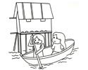 小女孩和妈妈在公园里划船的简笔画图片