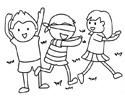 三位小朋友在玩捉迷藏游戏的简笔画图片