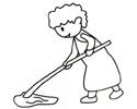 正在拖地的妈妈简笔画图片
